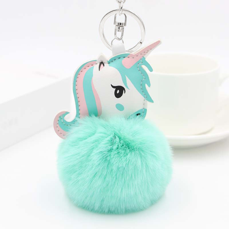 Cute Fluffy Fur Pompon Unicorn Keychain Women Faux Rabbit Fur Ball Pom Pom Horse Key Chains Ring Bag Car Charms Trinket Gift