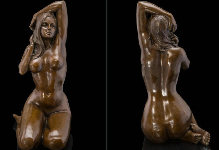 Art Deco Sculpture Nude Woman Sexy Girl Naked Body Bronze Statue R0712