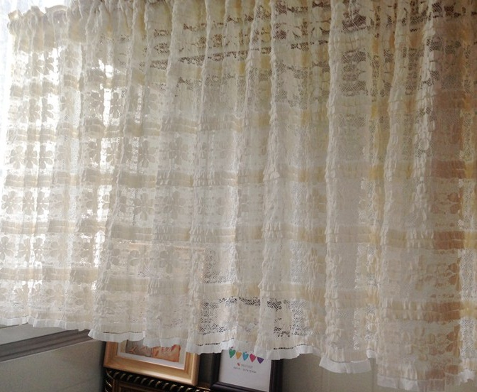 free shipping pastoral beautiful soft lace coffee short curtain kitchen curtains for living room