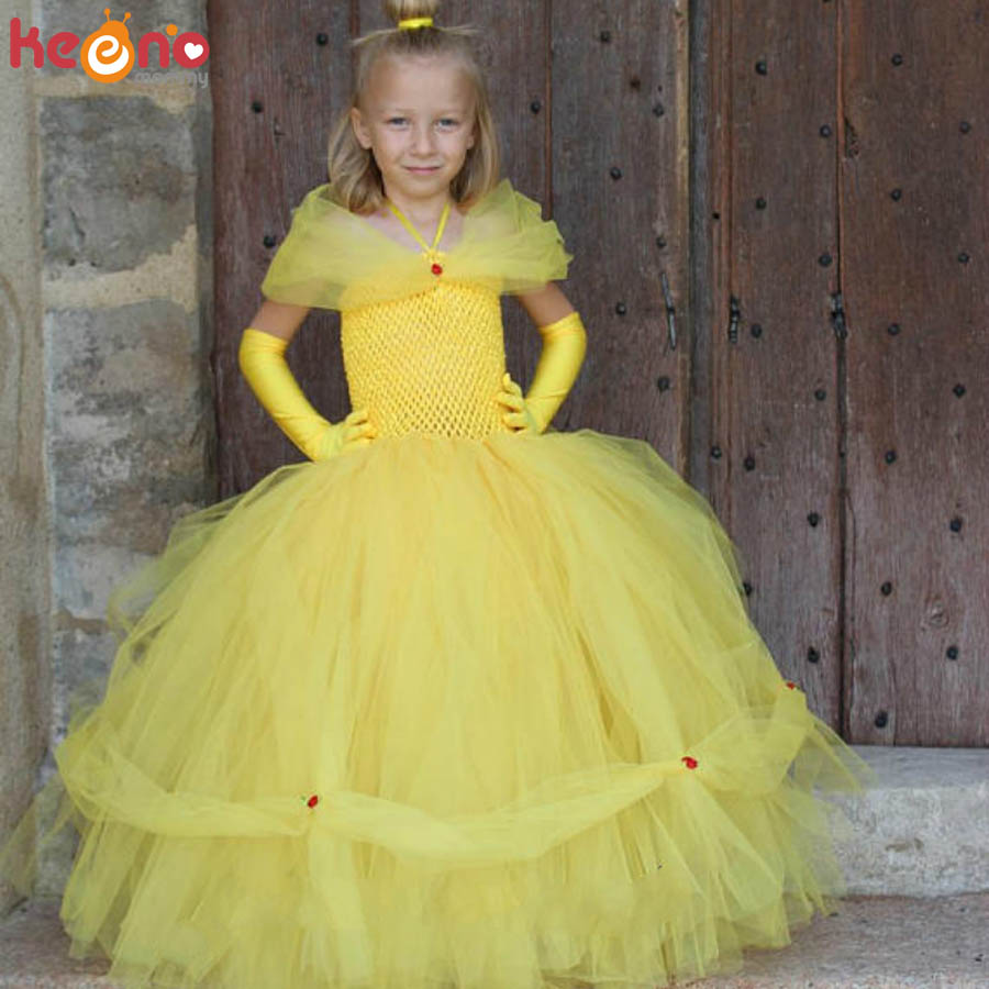 Yellow Princess Belle Tutu Dress The Beauty and the Beast Inspired Girls Birthday Party Dress Kids Photo Cosplay Costumes Vestidos (5)