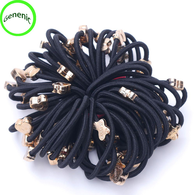 10 piezas mucho pelo cuerda negro banda de goma elástica de cola de caballo titular pelo trenzado nueva herramienta