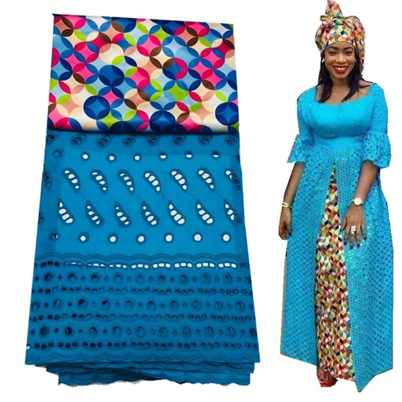 Dentelle de voile suisse avec tissu de dentelle africaine match de tissu de soie de haute qualité avec des ensembles de tissu de dentelle de coton 3 + 2.5 yards
