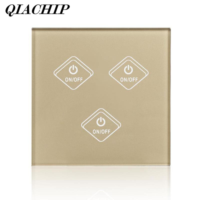 QIACHIP WiFi Smart Switch 3 Gang Light Switch Tempered Glass Panel APP Remote Control Work with Amazon Alexa Wall Google Home B ewelink us type 2 gang wall light smart switch touch control panel wifi remote control via smart phone work with alexa ewelink