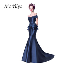 It's YiiYa Blue New Sleeveless Boat Neck Evening Gowns Beading Satin Floor Length Luxury Mermaid Evening Dress QXN090