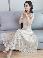 AIYANGA Long Lace Dress Women 2019 Summer Elegant Dresses Female V neck Short Sleeve Party Dress