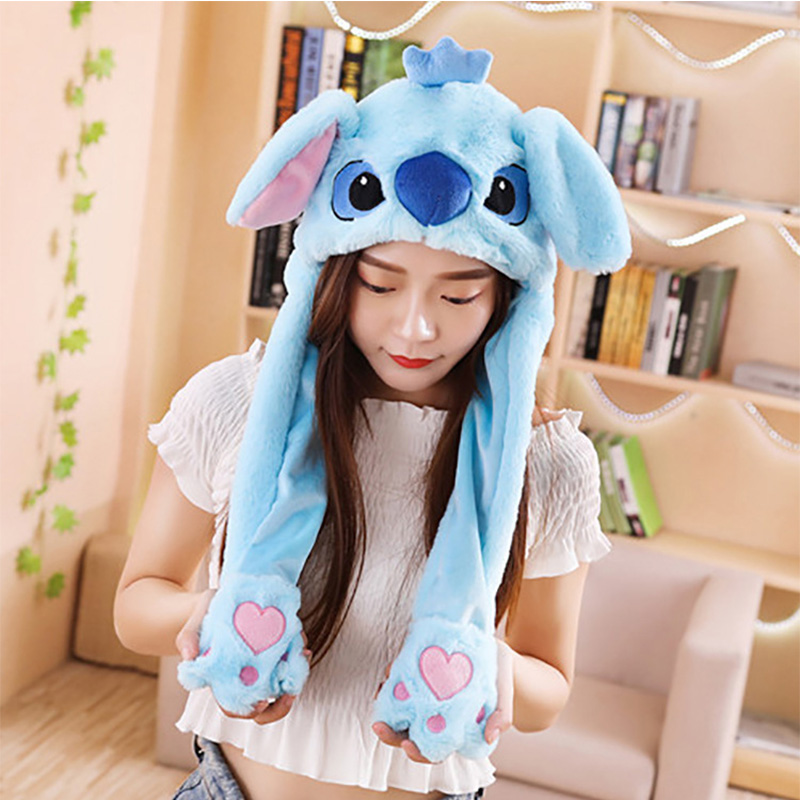 Girls Unicorn Hat Plush Moving Ears Stitch Hat Hand Pinching Ear To Move Vertical Ears Cap Women Party Pikachu Performance Gifts