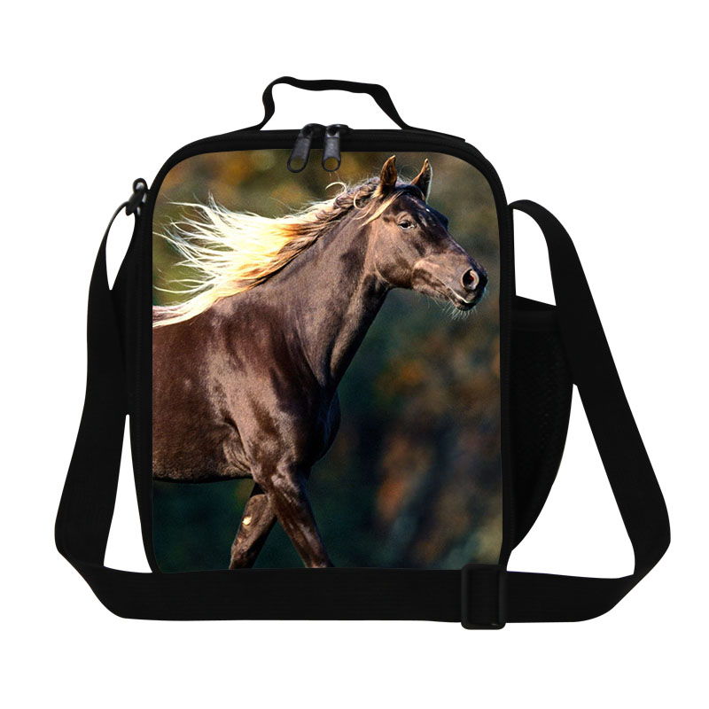 Designer Children Animal Lunch Bags Kids Horse 3D Print Lunch Box Insulated Thermal Picnic Bag Students Food Bag