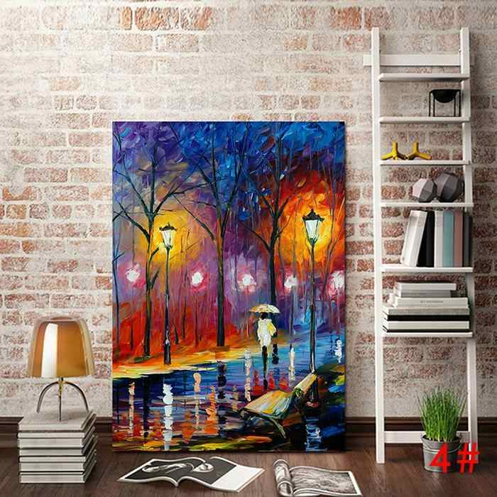 Frameless Abstract Colorful building DIY Painting By Numbers Hand Painted Oil Painting For Wall Art Picture Home Decoration