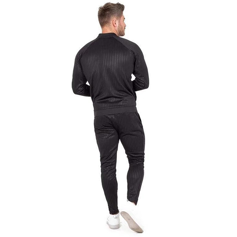 GYMOHYEAH tout nouveau automne décontracté hommes ensembles mode mâle Zipper sweat + pantalon survêtement à la mode cordon Sportwear Setu - 3