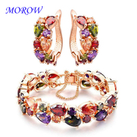 MOROW New Fashion Zirconia Rose Gold Color Bracelets Earring 2pc Sets for Women Party Gift Crystal Bracelet Earrings Set Jewelry