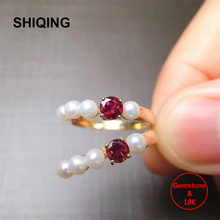 SHIQING 0.35ct nature Tourmaline genuine 18K yellow gold pealr line red gemstone tiny ring for women
