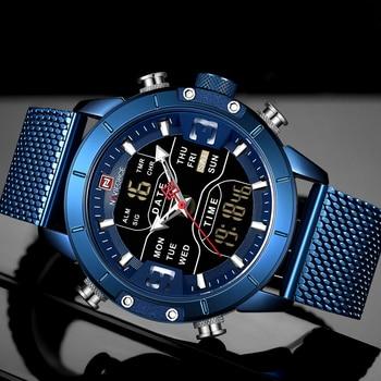 NAVIFORCE Mens Watches Top Luxury Brand Men Sports Watches Men's Quartz LED Digital Clock Male Full Steel Military Wrist Watch 3