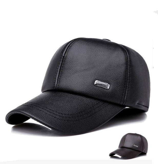 27fd9dbb8a45f HAIGE007 Winter Men s Leather Baseball Caps Old Man Causal Faux Leather  Windproof Earflap Snapback Hats Warm