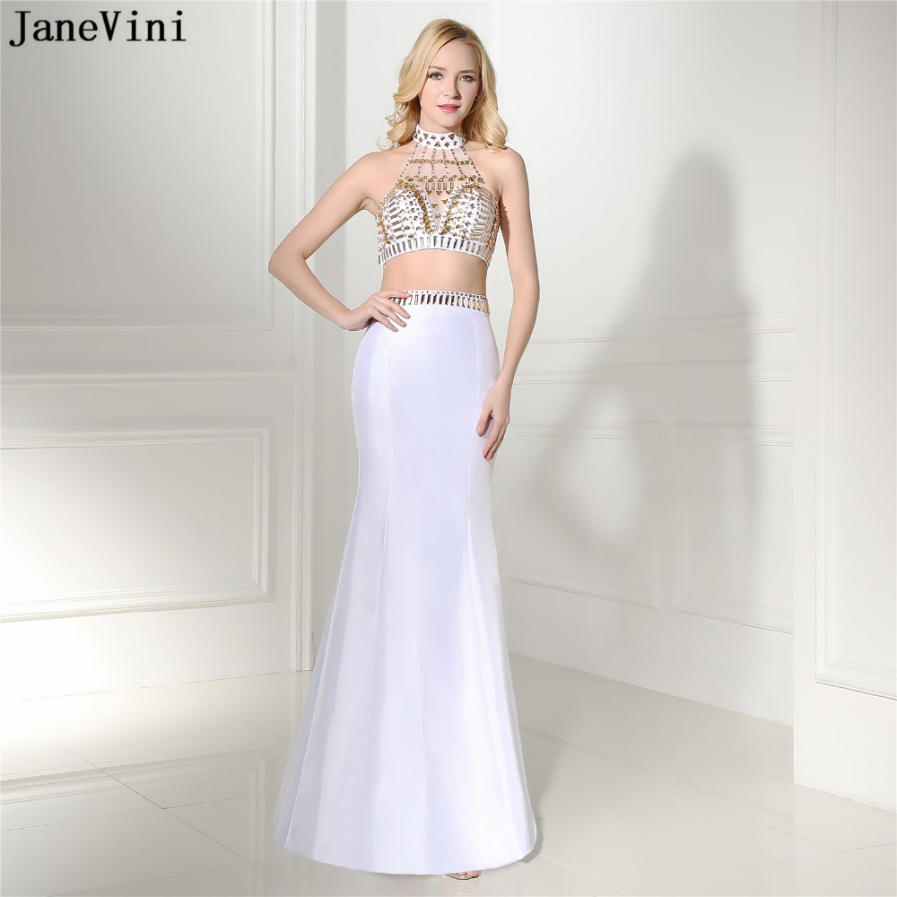 JaneVini Sexy White Two Pieces   Bridesmaid     Dresses   Mermaid High Neck Beading Backless Floor Length Satin Formal Long Prom Gowns