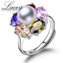 100% 925 anillo de plata esterlina de la perla ajustable natural anillos de perlas para las mujeres joyería fina dama de la moda de regalo de cumpleaños