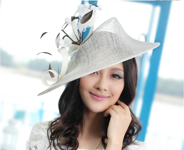 2017 Vintage Women Fascinator Hat Flower Hair Bows Hairband Headwear Dress Derby Church Wedding Cocktail Feather Sinamay New Cap