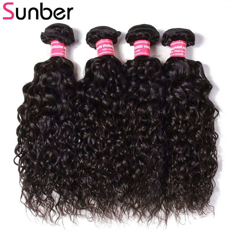 SUNBER HAIR Peruvian Water Wave 4 Bundles Remy Hair 8-26 Inch Double Weft Natural Black Human Hair Weaving Can Be Dyed Restyled