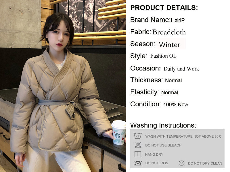 Hzirip 19 New Design Female Women Winter Solid Sashes Coat Thick High Quality Students Outwear Sweet Women Plus Size 2 Colors 1