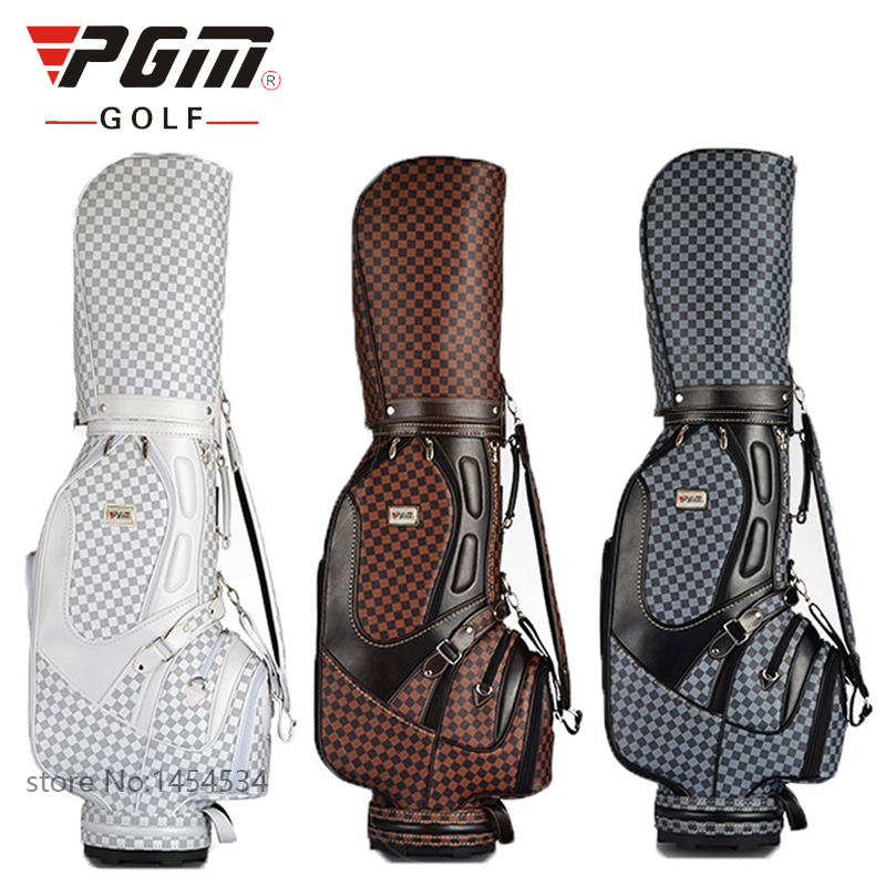 PGM-VS Golf Standard Ball Package Bag87*23*46CM Men Golf Plaid Club Bag Women Ball Environmental PU Cart Bag Can Hold 13 Clubs golf ball sample display case