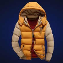 Invierno хаки парки hombre толщиной лоскутное зимняя молния желтый куртка моды