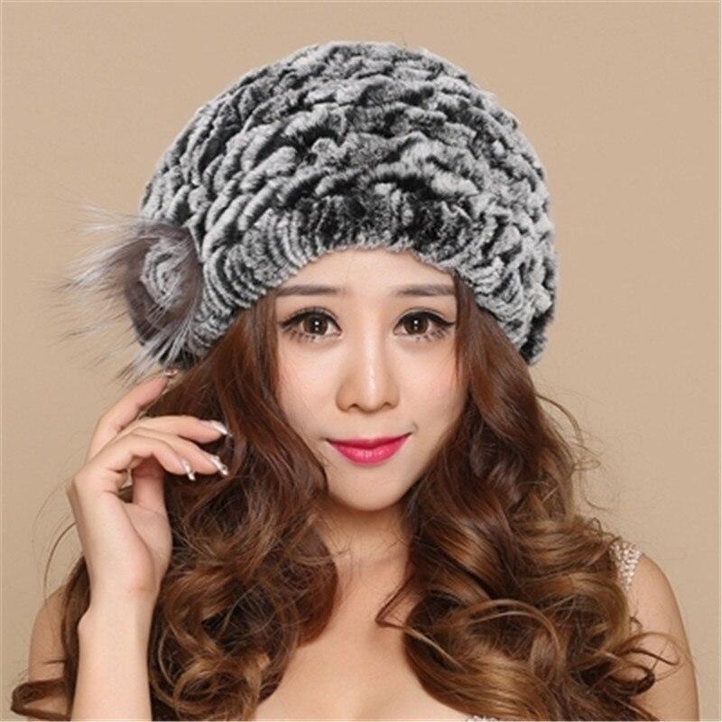 Rex arnab beret wanita musim sejuk kulit cape kelinci topi bulu topi - Aksesori pakaian - Foto 4
