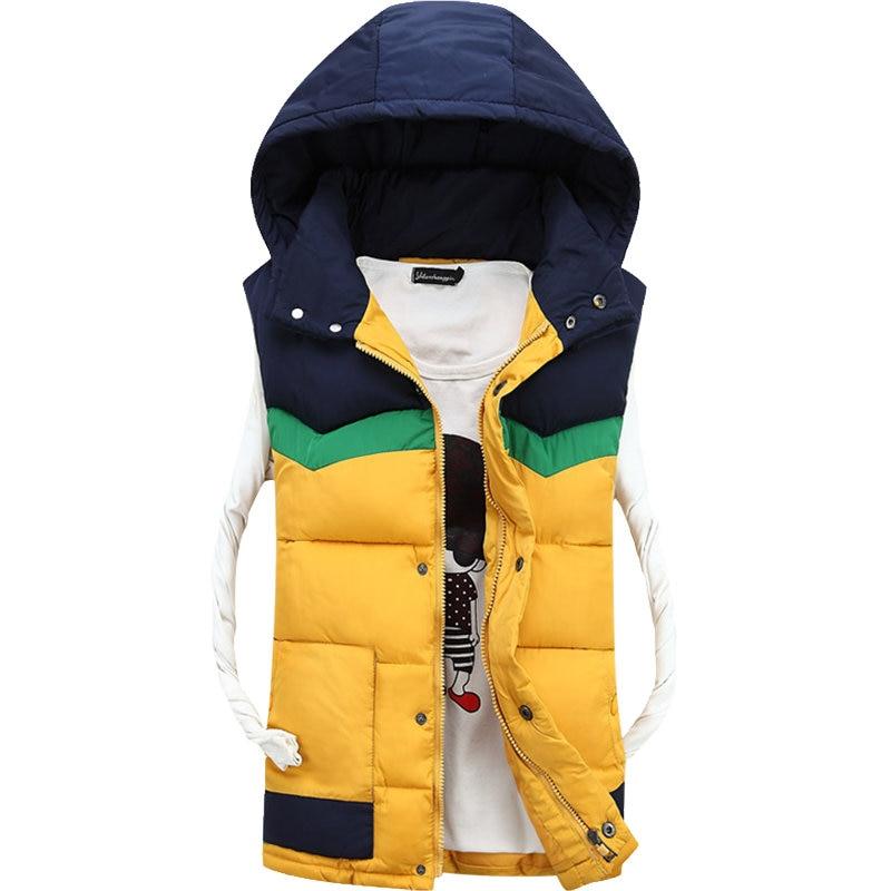 Autumn Winter Hooded Vest Men Casual Slim Warm Women Sleeveless Jacket Coat Youths Mens Man Vest Plus Size S-4XL