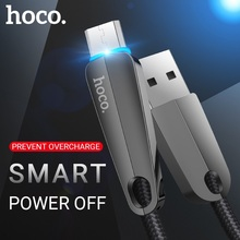 Hoco cabo micro usb de carregamento de transferência de dados usb um micro plugue de energia inteligente fora usb para samsung xiaomi android carregador telefone fio