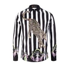 2019 New Arrival Luxury Mens Shirt Fashion Dress Shirt Long Sleeve Striped Print Leopard Casual Slim Fit Camisa Masculina