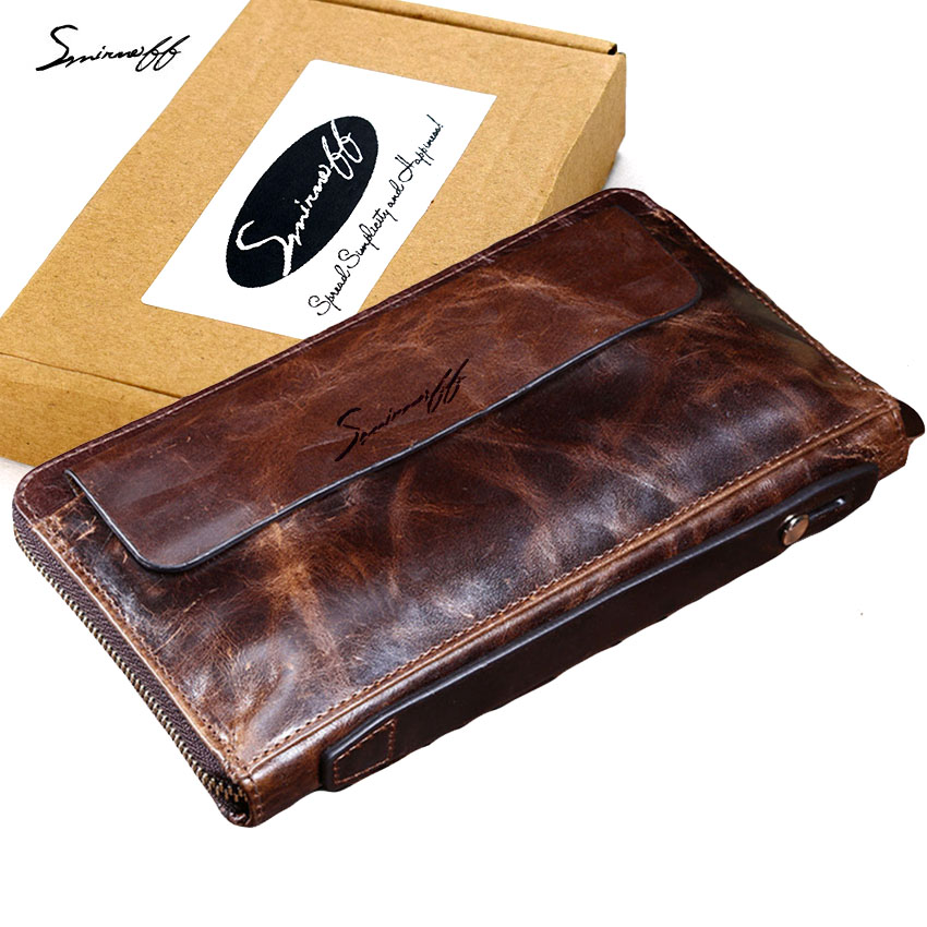 SMIRNOFF Super Big Genuine Leather Wallet Men Clutch Wallet With Coin Pocket Belt Multi-Card Bit Vintage Long Leather Purse Male