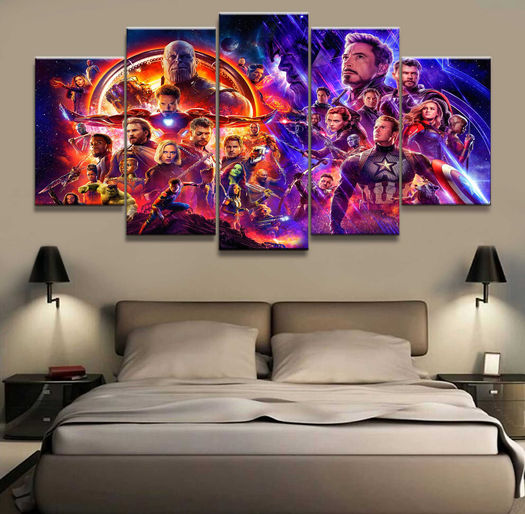 5 Piece Captain America Iron Man Avengers Endgame Films Art Posters Footprints Painting Wall Decoration for Living Room Poster