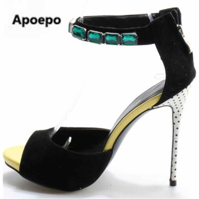 Sexy Ink Green Crystal Ankle Straps Sandals Women Peep Toe Pumps Faux Suede Ladies Rhinestone Party Polka Dot Heels Dress Shoes free shipping 35x150 10meters bridge type plastic towline cable drag chain