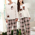 Cute Bear Pajamas Cotton Lattice Suits Male Female Couples Pajamas Spring Pajamas Family Fitted Cartoon 2017 New Pajamas Sets