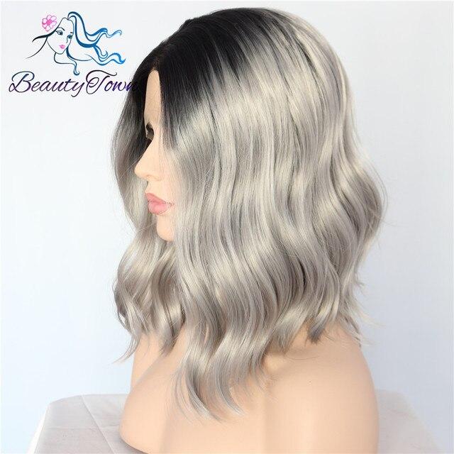 BeautyTown corto tipo negro Ombre gris sin pegamento mano atado gran parte de encaje resistente al calor diario maquillaje sintético encaje frontal pelucas