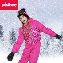 Зимние лыжные костюмы для девочек, детские уличные водонепроницаемые ветрозащитные утепленные куртки и штаны, комплект детской одежды