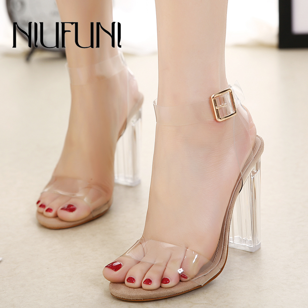 NIUFUNI 2018 PVC Women Pumps Sexy Clear Transparent Ankle Strap High Heels Party Sandalias Shoes Sapatos zapatos mujer