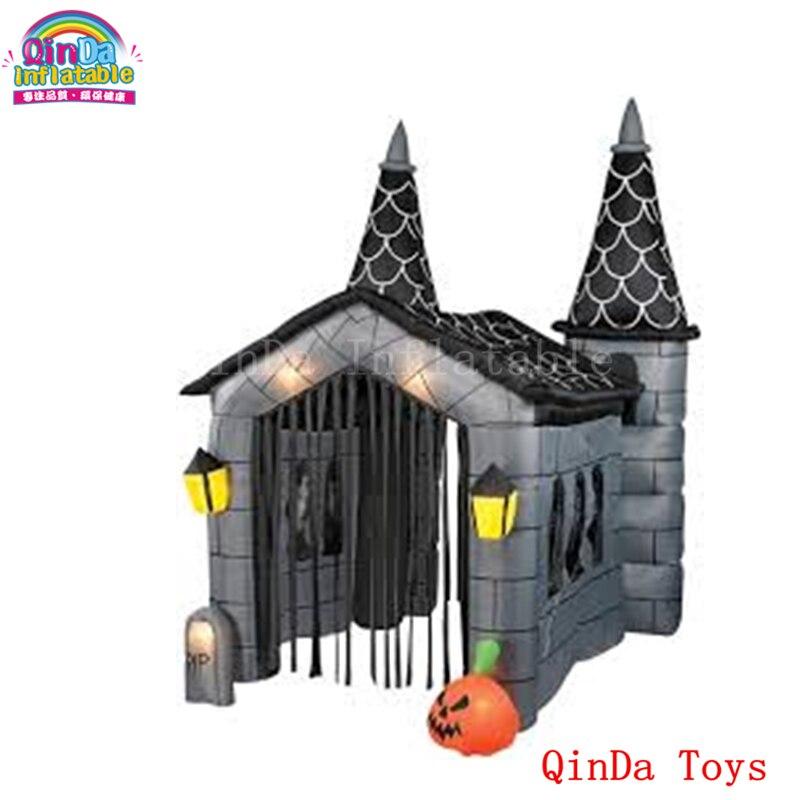 Maison hantée gonflable géante de citrouille de décoration de halloween, maison hantée gonflable de halloween à vendre