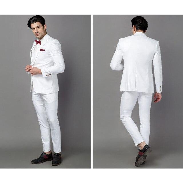 Classic Mens Designer Suits Linen Men Terno Masculino White Wedding Suit Tuxedo Jacket