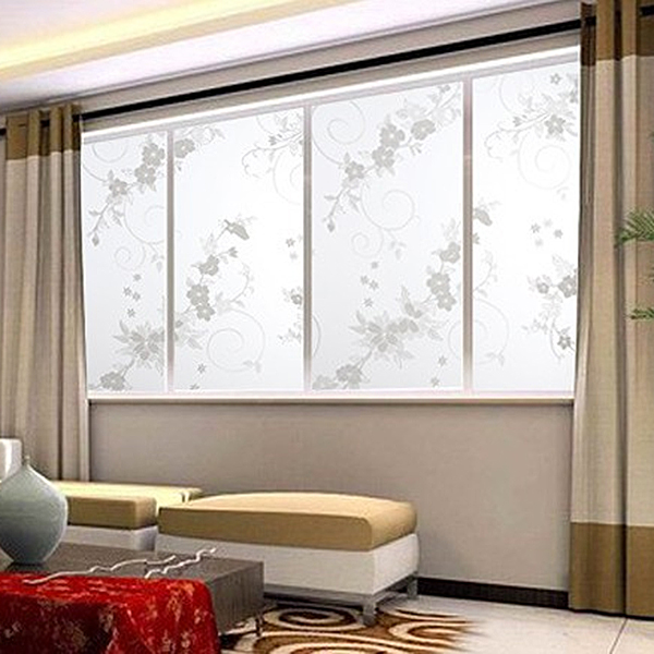 Soledi sweet 45x100cm frosted privacy glass window door plum flower sticker film adhesive home office decor in wall stickers from home garden on