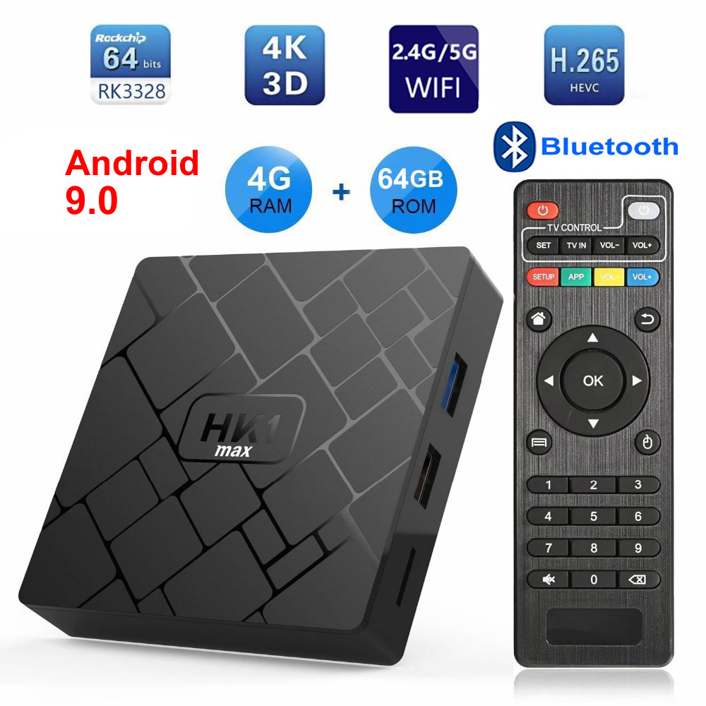 HK1 MAX Android 9.0 Smart TV BOX RK3328 Quad core 4GB Ram 64G Rom 2.4G/5G double WIFI Bluetooth 3D 4K HDR H.265 USB3.0 décodeur