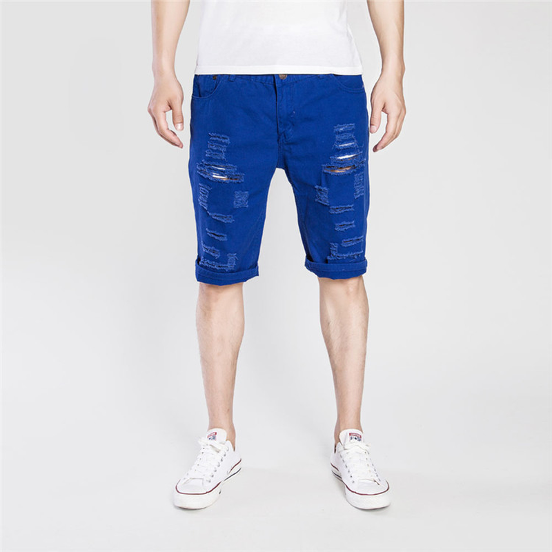 Summer Thin Skinny Shorts Men's Hole Casual Denim Shorts Knee Length Straight Short Jeans 2019 Men Clothes Blue Black Red White