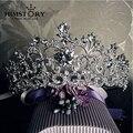 Белый Позолоченный Vintage Rhinestone Люкс Тиара Свадебные Аксессуары Для Волос Кристалл Pageant Короны Диадемы и Короны