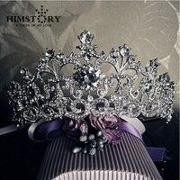 Biały Vintage Rhinestone Akcesoria Do Włosów Ślubne Dla Nowożeńców Tiara Kryształowe Diadem i Korony Ślubne Korony Pageant