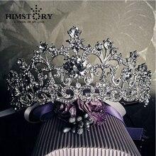 Blanco Vintage Rhinestone Tiara Nupcial Pelo de La Boda Accesorios Crystal Pageant Crowns Tiaras y Coronas de La Boda