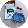 Nuevo 1 2 3 años de edad del bebé ropa de algodón material o-cuello con little boy impreso muchachos de la manera ropa chaleco traje A021