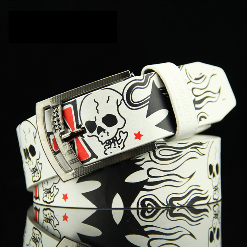 New Skull Men's Belts Women's Decorative Belts Schoolboy Jeans Belts Street Fashion Yourfocus High Quality PU A Cross Print