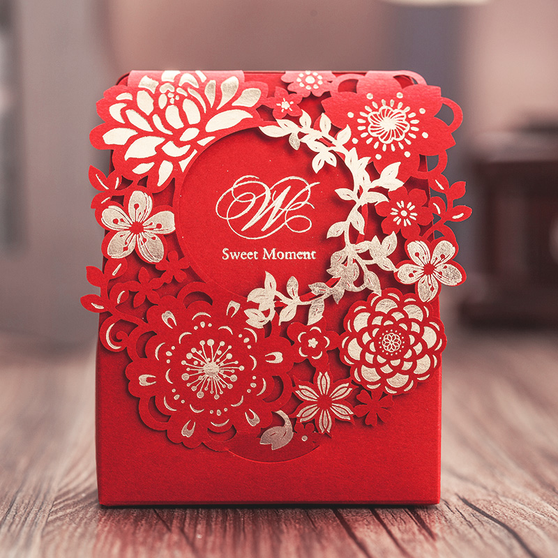 Top 100 Wedding Gifts: Red Laser Cut Favor Chocolate Boxes Elegant Flower Wedding
