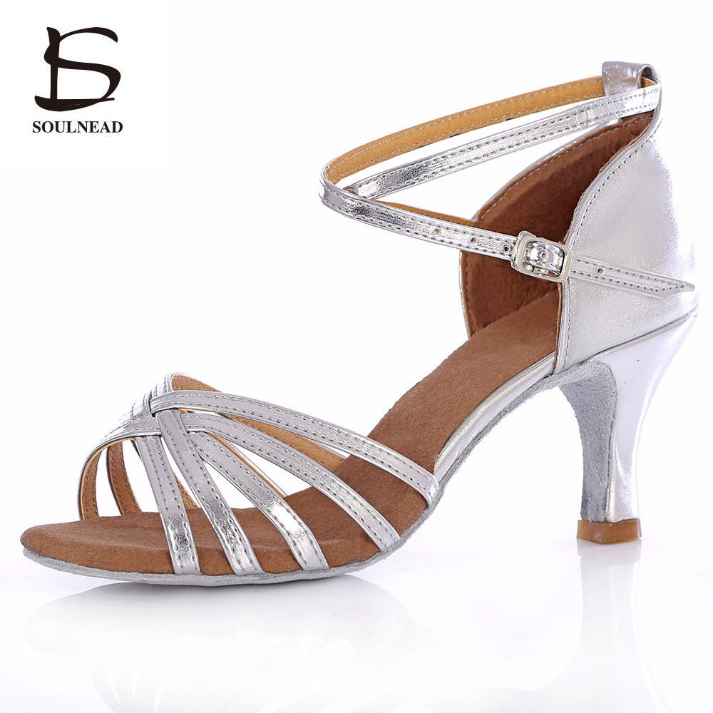 Salsa Latin Dance Shoes For Women Girls Tango Ballroom Dance Shoes High Heels soft Dancing Shoes 5/7cm Ballroom Dance Sandals(China)