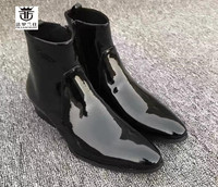 FR.LANCELOT 2018 Ankle Boots High quality patent leather boot British Style Men Short Boots side zip casual men's boots