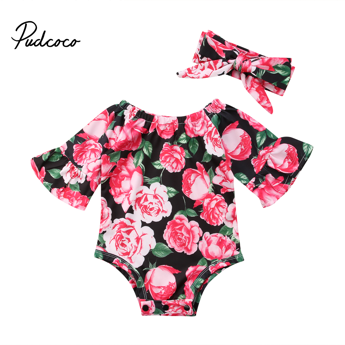 Newborn Baby Infant Girl Floral Romper Jumpsuit Bodysuit Headband Outfit Clothes