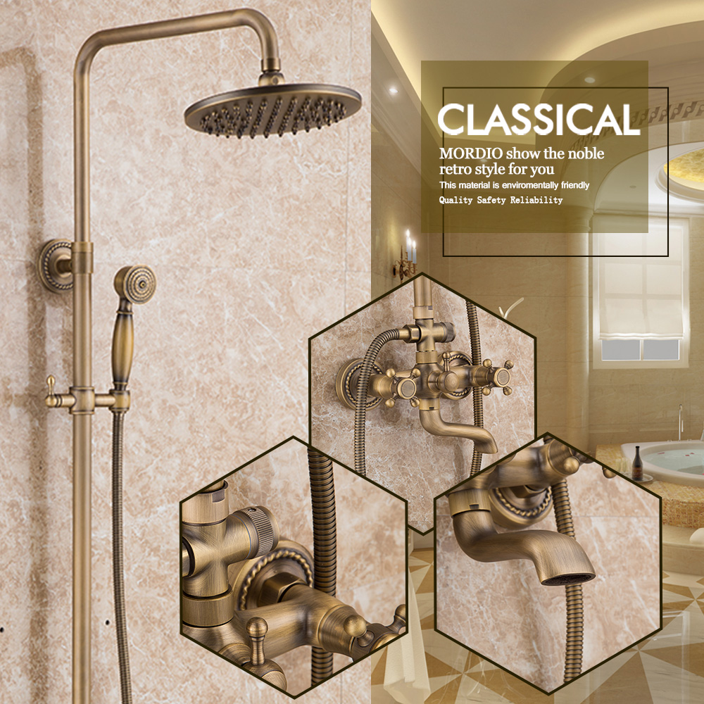 antique solid brass bathroom fixtures with shower head handheld shower bronze shower holder and arms rainfall